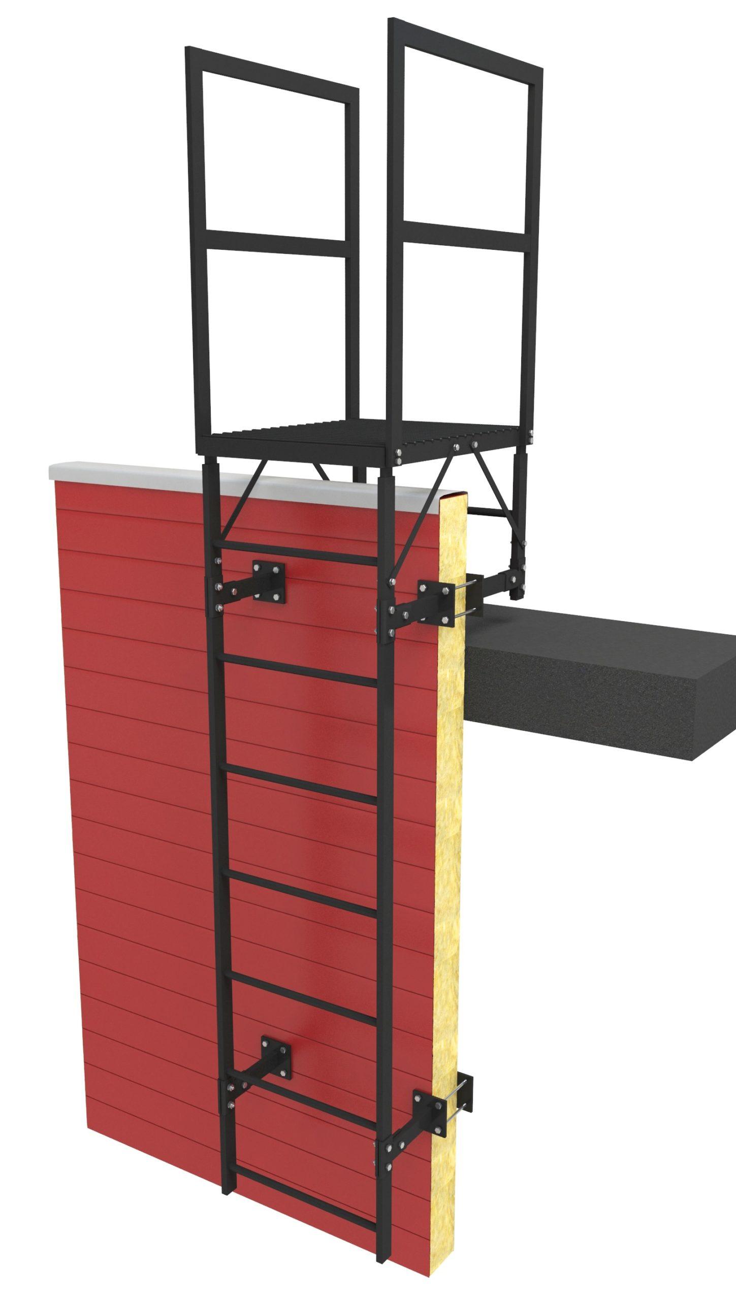 Пожарная лестница п1-2 на сэндвич-панель