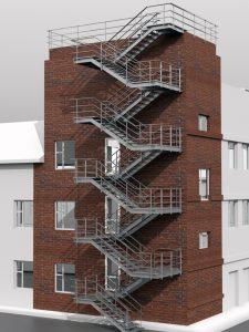 Эвакуационная маршевая лестница П2